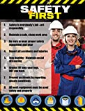 Safety Awareness Poster,'Safety First', 17' X 22' Laminated Front and Back Long-Lasting Workplace Safety First Poster
