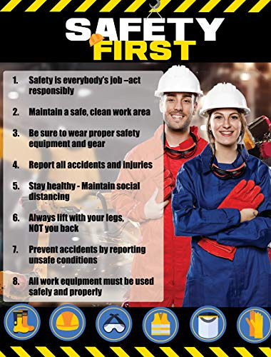 """Safety Awareness Poster,""""Safety First"""", 17"""" X 22"""" Laminated Front and Back Long-Lasting Workplace Safety First Poster"""