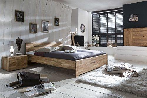 SAM Massivholzbett 180x200 cm Sava, Bett aus Wildeiche geölt