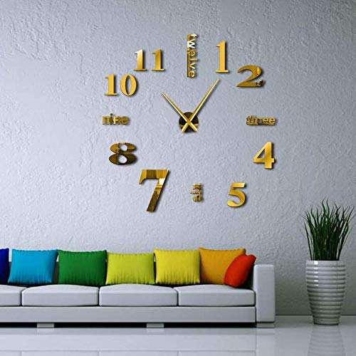 Pmhc DIY Romanumeral Wall Clock klok Engels letters DIY Giant Frameless 3D Large Wall Clock Mirror Sticker Living Room Decor