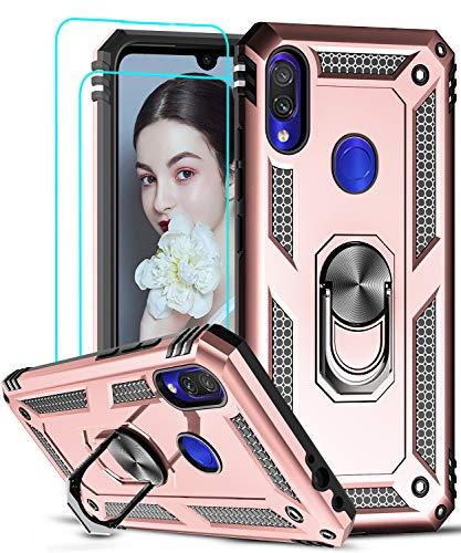 LeYi Funda XiaoMi Rdemi Note 7 Armor Carcasa con 360 Anillo iman Soporte Hard PC y Silicona TPU Bumper antigolpes Fundas Carcasas Case para movil Rdemi Note 7 con HD Protector de Pantalla,Oro Rosa