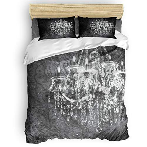 Duvet Cover Set 4pcs Bedding Set Lightweight Soft Duvet Comforter Cover Set for Children Teens Adults,Retro Candle Bedding Collection 1 Duvet Cover 1 Flat Sheet 2 Pillowcases,No Comforter King Size