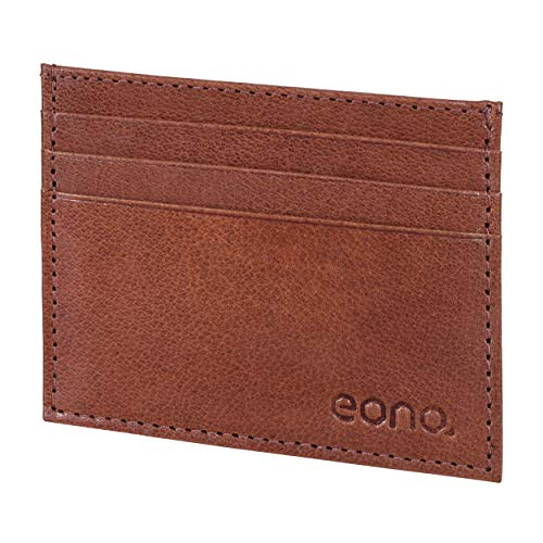 Amazon Brand - Eono - Tarjetero de Cuero con Compartimento para Billetes para Mujer y Hombre con diseño Plano y protección contra Lectura RFID (Bronceada VT)