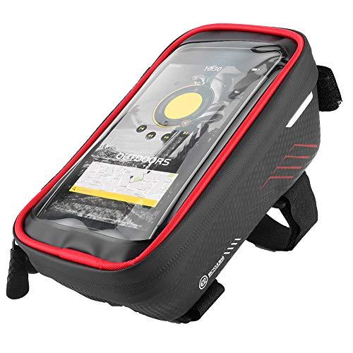 Verstelbare fietstas, zwart, rode voorste frame tas racefiets 1L touchscreen met EVA harde schaal, koolstofhoudende PU, rubberen waterdichte rits voor buiten
