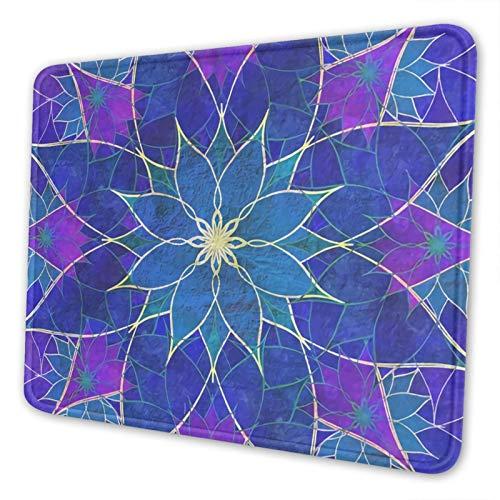 Alfombrilla de ratón con borde cosido, manta azul loto y morado con textura de primera calidad, alfombrilla de ratón antideslizante para ordenador portátil, ordenador, oficina