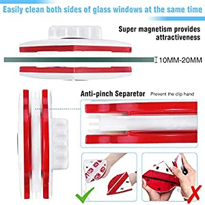 Magnetic Window Cleaner, CHARMINER Window Cleaning Tool, Magnetic Window Cleaner Double Sided, Window Double Sided Cleaner with 2 Long Anti-Falling Rope for High Windows Thickness 10-18mm