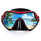 Snorkel Diving Mask, Professional Snorkeling Mask Gear, Ultra Clear Lens with Wide View Tempered Glass Goggles,Anti Leakage Scuba Mask, Silicone Swimming Goggles Mask for Adults, 3 Color (red)