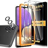 5 Pack UniqueMe 2 Pack Protector de Pantalla Compatible con Samsung Galaxy A32 5G [No aplica para Samsung Galaxy A32 4G] y 3 Pack Protector de lente de cámara Cristal Templado,[Sin Burbujas] Vidrio