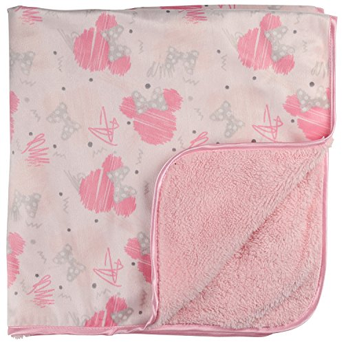 Disney Minnie Mouse Double Sided Sketchy Icon Printed Mink Front and Sherpa Back Blanket