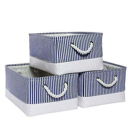 Mangata Stoff Aufbewahrungsboxen, offener Aufbewahrungskorb, Organizer für Kleiderschrank, 3er Pack (Blauer Streifen, Medium)