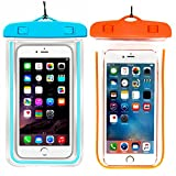 (2Pack) Universal Waterproof Case, Cellphone Dry Bag Pouch Compatible with iPhone 7 6s 6 Plus, SE 5s 5c 5, Galaxy s8 s7 s6 Edge, Note 5 4,LG G6 G5,HTC 10,Sony Nokia up to 6.2' Diagonal-Blue+Orange
