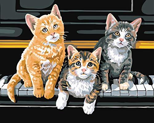 Malen nach Zahlen für Erwachsene & Anfänger, Leinwand-Ölgemälde-Set mit Pinseln – Drei Katzen spielen Paino 40,6 x 50,8 cm