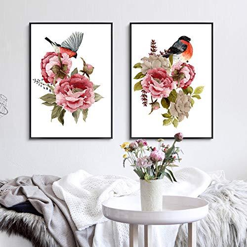 tzxdbh Moderne pioenroos bloemen vogels muurfoto's canvasfoto's POP posters en foto's voor de woonkamer thuis decoratief-in schilderij & kalligrafie van huis & tuin op 40x60 cm Geen frame.