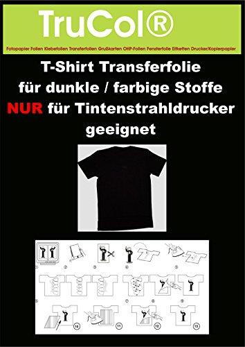 10Bl. T-Shirt Transferpapier DIN A4 für Dunkle Stoffe.Eine spezielle Transferfolie zum Bedrucken von schwarzen, farbigen, dunklen und hellen T-Shirts, Basecaps,Sweat-Shirts, Baumwoll-Taschen,Bettwäsche,Fahnen,....Sie erhalten 10 Blatt DIN A4 Transferfolie incl. einer Bedienungs- und Waschanleitunganleitung.Für JEDEN Tintenstrahldrucker und höchste Auflösungen bestens geeignet !Sie können diese Folie aber auch mit Kugelschreiber,Edding,Wasserfarbe beschriften und dann Aufbügeln !!!