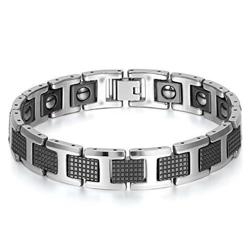 JewelryWe Schmuck Herren Magnet Armband, Wolfram Wolframcarbid, Einfach Klassisch Charms Gesundheit Magnetarmband Armreif, Schwarz