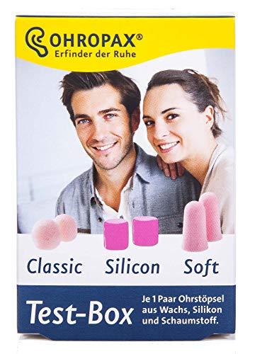 Ohropax Test-Box (2 Classic, 2 Silicon, 2 Soft) Gehörschutz-Ohrstöpsel
