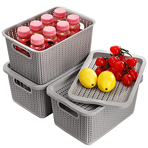 Jucoan 3 Pack Plastic Storage Basket with Lid, 9.5 x 7.5 x 5.6 Inches Stackable Lidded Woven Basket Organizer Bins, Classroom Storage Baskets for Toys, Books, Pen, Pencils