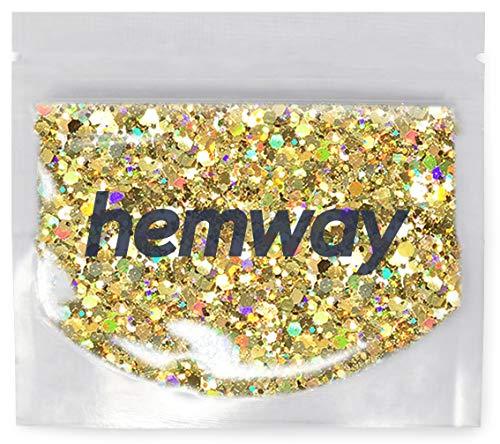 Hemway Holographic - Glitzerpulver mit Pailletten - vielseitig einsetzbar - zum Basteln & Verschönern von Karten & Blumen/Tisch- & Weinglas-Deko/Kosmetik für Haut & Haare - für Festivals - GROB - Gold
