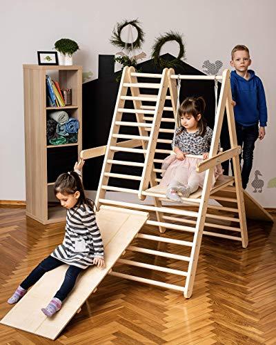 Palestra per bambini piccoli, Step Triangle, Scala da arrampicata per bambini, Triangolo per bambini, , Palestra per bambini, Puoi scegliere senza o con una o due rampe nelle opzioni