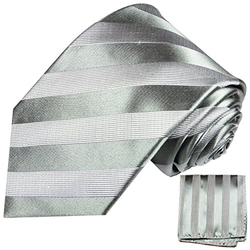 Krawatten Set 2tlg 100% Seide silber grau Seidenkrawatte mit Einstecktuch