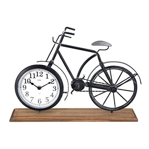 Markenlos Tischuhr Fahrrad 42cm grau Holzsockel Standuhr Fahrraduhr Kaminuhr Shabby Deko