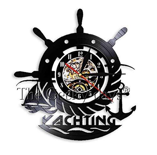 HHYXIN Reloj de Pared de Vinilo Vela Arte Decorativo Reloj de Pared Barco de Vela Ancla de Rueda 3D Relojes de Pared Paisaje Marino Marineros Decorativos Reloj de Pared Decoración-12 Pulgadas