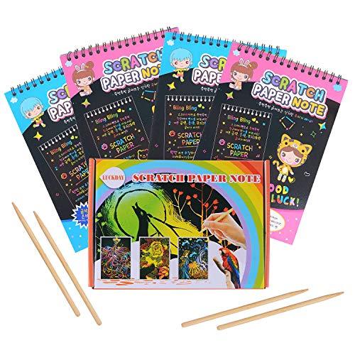 HellDoler Dessin Gratter pour Enfants,40 Feuilles à Gratter Papier Gratter Carte Gratter pour Dessins avec 4 Stylets en Bois