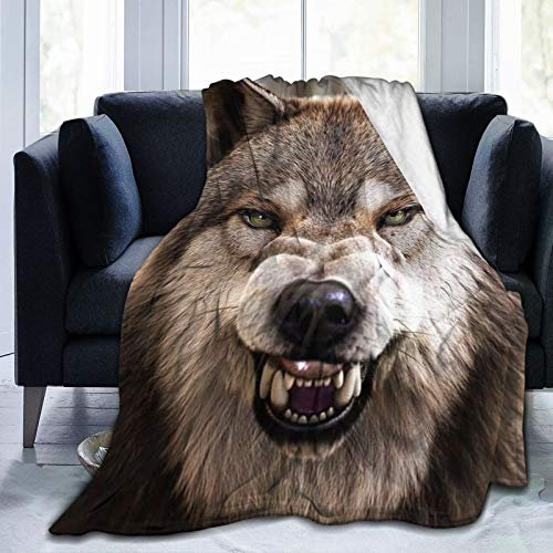 Super Soft Blanket Sleeps Comfortably, Used in Bedroom Sofa Chair Living Room (50x40cm) Wolf Mouth