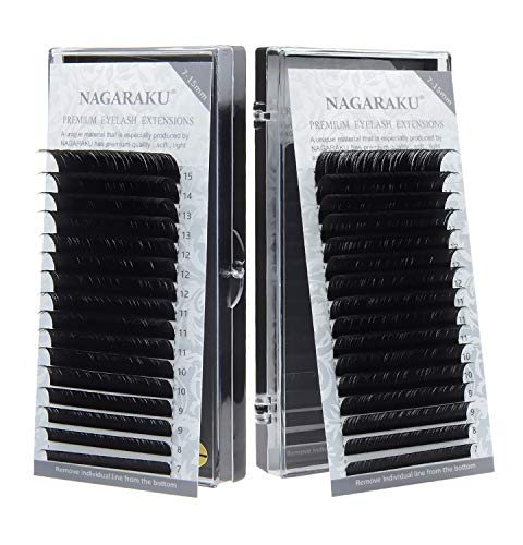 GOTONE 2 Tray Eyelash Extensions, Individual Lashes 0.05mm C Curl Matte Black Volume Lash Extensions (C-0.05, Mix 7-15 mm)