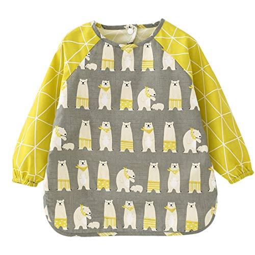 Babero para niños Delantal Unisex de Pintura Impermeable Babero bebé con Estampado Lindo Manga Larga alimentación Abrigo Oso Gris
