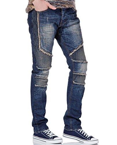 Red Bridge Herren Jeanshose Biker Jeans Ripped Röhrenjeans Denim blau W29 L32