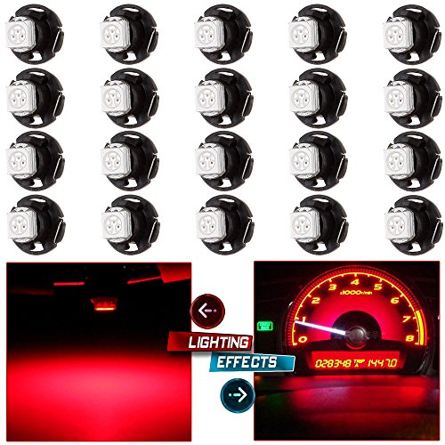 ECCPP 20Pcs Red 12mm T5 4.7 Neo Wedge LED Bulbs Instrument Panel Gauge Cluster Indicator A/C Climate Control Lights