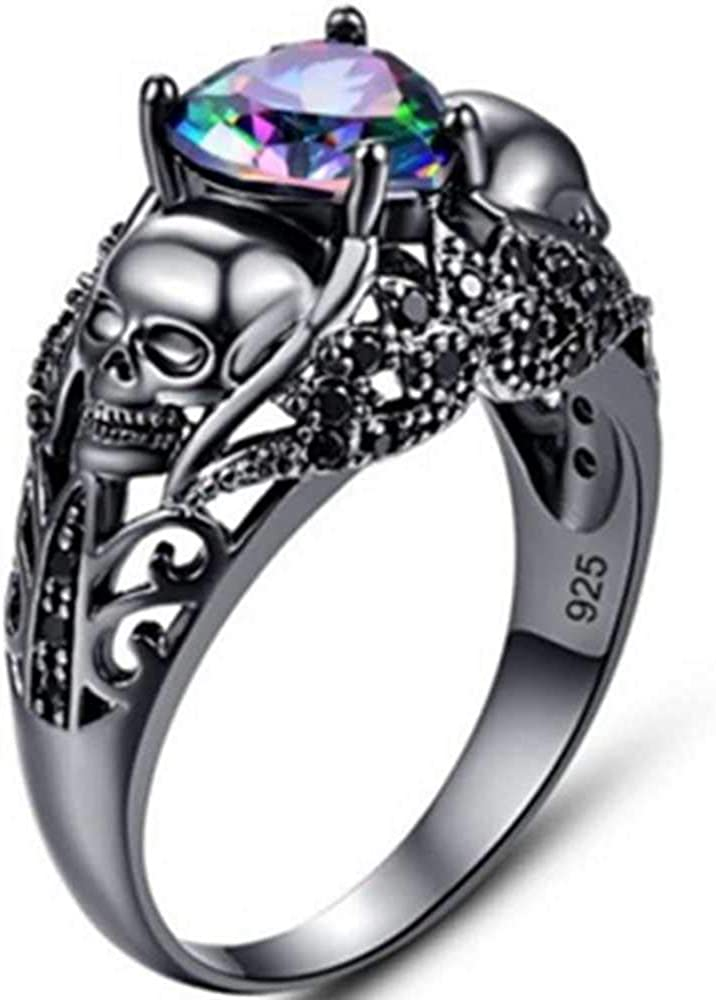 Jude Jewelers Retro Vintage Black Gold Plated Heart Shape Stone Gothic Skull Style Statement Party Ring