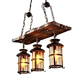 Pendellampe Vintage Industrielle Loft Lampe Antik Holz Hängelampe Metall Eisen Design Kronleuchter Rund Glas Pendelleuchte Jahrgang Wohnzimmer Schlafzimmer Retro Küchenleuchte Esszimmer, 3 flammig