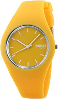 TONSHEN Simple Fashion Analog Quartz Watch Rubber Band Casual Style Wrist Watches for Women Girl 12 Colours (Yellow)