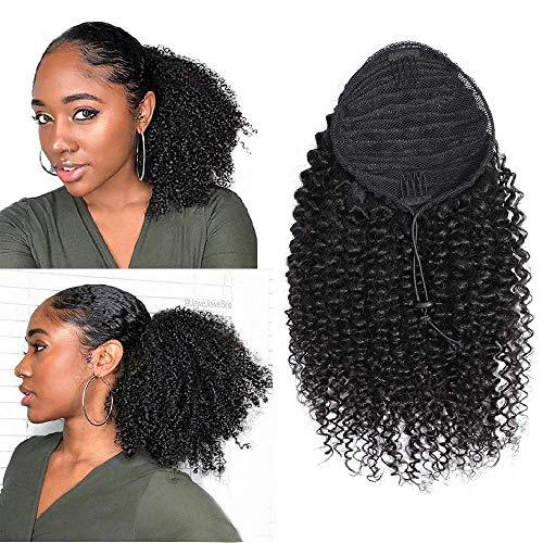 Afro Kinky Verworrene Perücke lockige Clip in Pferdeschwanz Gelockt Welle Haar Perücken mit Kordelzug Haarverlängerunge für African(schwarz) 25cm 120g 009B