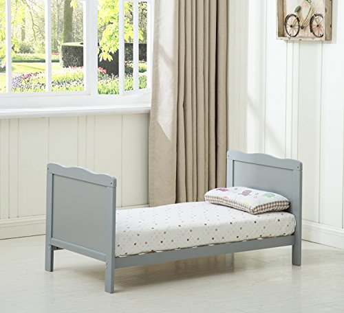 "MCC Grey Wooden Baby Cot Bed""Orlando"" Toddler Bed Premier Aloe Vera Water Repellent Mattress (Mattress Size: 120 * 60cm)"