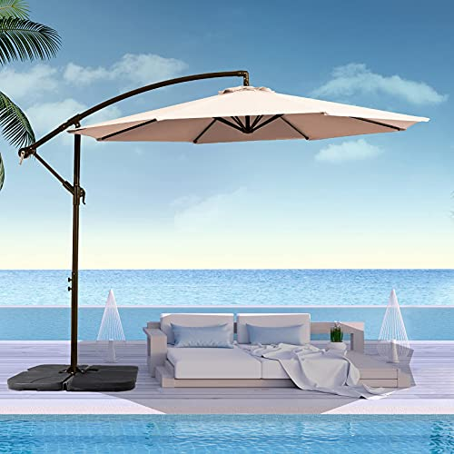 SMLIXE 10FT Patio Umbrella Outdoor Cantilever Umbrella Offset, Large Hanging Market Umbrella w/Crank & Cross Base, Umbrella for Backyard/Garden(Weight Base NOT Include), Beige