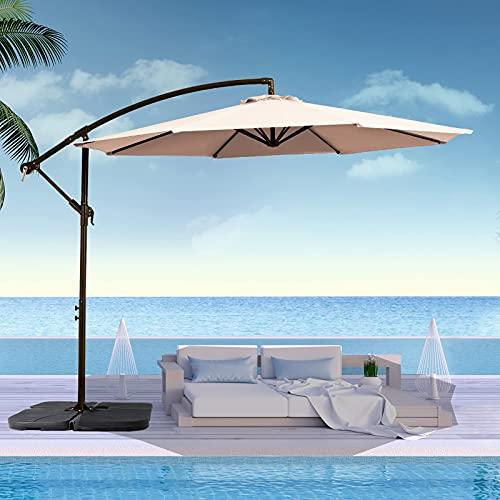 SMLIXE 10FT Patio Umbrella Outdoor Cantilever Umbrella Offset, Large Hanging Market Umbrella w/Crank...