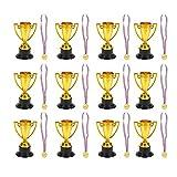 STOBOK - 24 piezas de juguetes para niños, minicopas de oro y medallas para fiestas, suministros para niños, juguetes de aprendizaje (12 x Trofeos + 12 x Medallas)