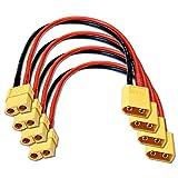 VUNIVERSUM 4X Stück Premium XT60 Verlängerung Kabel Stecker auf Buchse Male auf Female Hochstromstecker Goldstecker Adapterkabel 20cm 14AWG für Lipo Akku Batterie von Mr.Stecker Modellbau® -