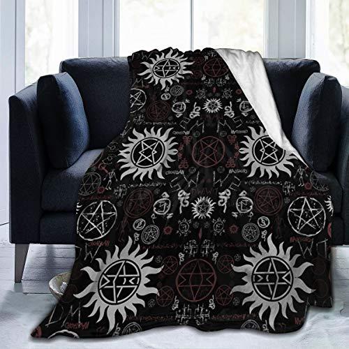 Supernatural Symbole schwarze Flanell-Fleece-Überwurfdecke, weich, warm, gemütlich, leicht, für Kinder, Kleinkind, Haustierdecke für Sofa, Bett, Büro, Erwachsene, Schulter und Schoß, 127 x 101 cm