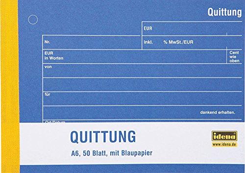 Idena 314259 - Quittungsblock DIN A6, 50 Blatt mit Kohlepapier