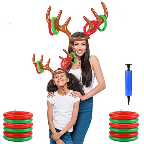 OldPAPA [2 Pack] Inflatable Reindeer Antler Ring Toss Game, Christmas Party Games for Kids Adults Families Carnival Games Xmas Holiday Party Supplies Family & Office Party Favors