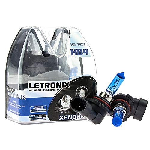 LETRONIX Halogen Auto Lampen HB4 9006 12V 8500K Kalt Weiß Xenon Optik Gas Ultra White Look Birnen Lampe Abblendlicht Nebelscheinwerfer Fernlicht Kurvenlicht E-Prüfzeichen (LED Optik) (HB4 55W)