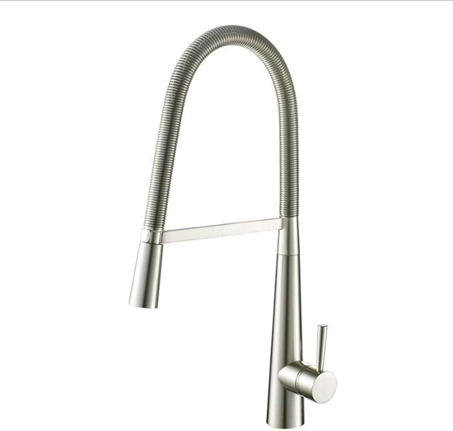 360° Swivel Spring Kitchen Mixer Tap Nickel Brushed Chrome Leadless Brass Faucet Hot and Cold Kitchen Sink Tap,SilverFaucet