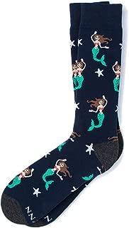 Men's Hipster Swimming Nautical Mermaid Contemporary Crew Dress Socks