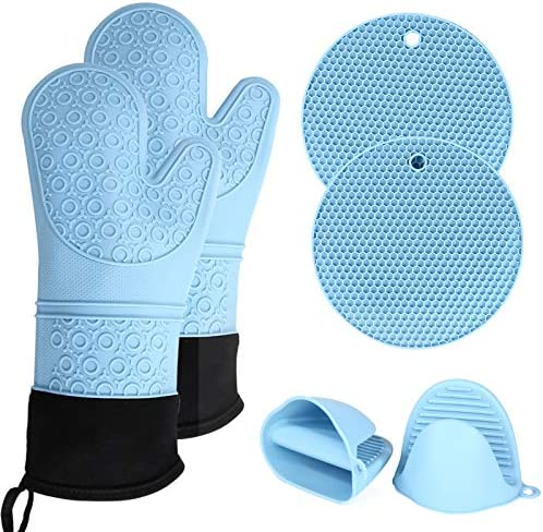 Silicone Oven Mitts Pot Holders Non Slip Gloves potholders for Kitchens Extra Long Cooking Gloves product image