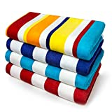 Kaufman - Joey Velour Cabana Stripe Multicolor Beach Towel,...
