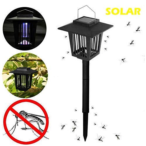 Naiflowers Solar Mosquito Bug Zapper Insect Killing Lamp Killer Indoor Outdoor Backyard Garden Patio Lawn Camping Cordless Solar Powered Pest Light Best Stinger Mosquitoes Moth Fly